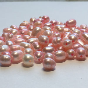 Pink Dyed Freshwater Pearls, 6-8 x 5-6 mm, 100 Pearls