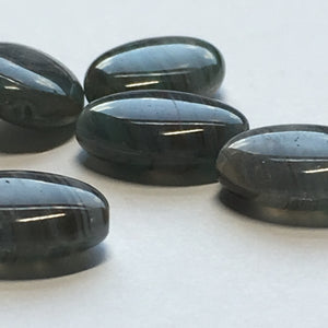 Gray, Green and Black Striped Oval Flat Glass Beads, 12 x 9 x 4 mm, 6 Beads