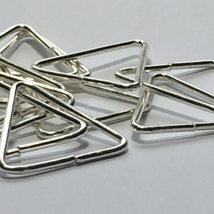 Bright Silver Triangle Split Links, 22 mm  - 12 Links