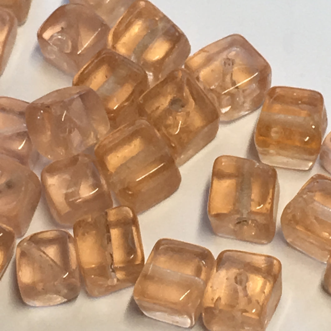 Transparent Orange Lampwork Glass Cube / Square Beads 6 mm, 25 Beads