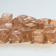 Load image into Gallery viewer, Transparent Orange Lampwork Glass Cube / Square Beads 6 mm, 25 Beads