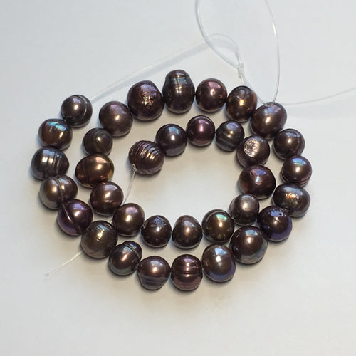 Purple Peacock Freshwater Pearls, 7-9 x 7-8 mm, 35 or 60 Pearls