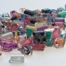 Load image into Gallery viewer, Multiple Color Lined Clear Glass Flat Rectangle Beads, 5-3 x 4 x 3 mm Average Size, 5 or 10 gm