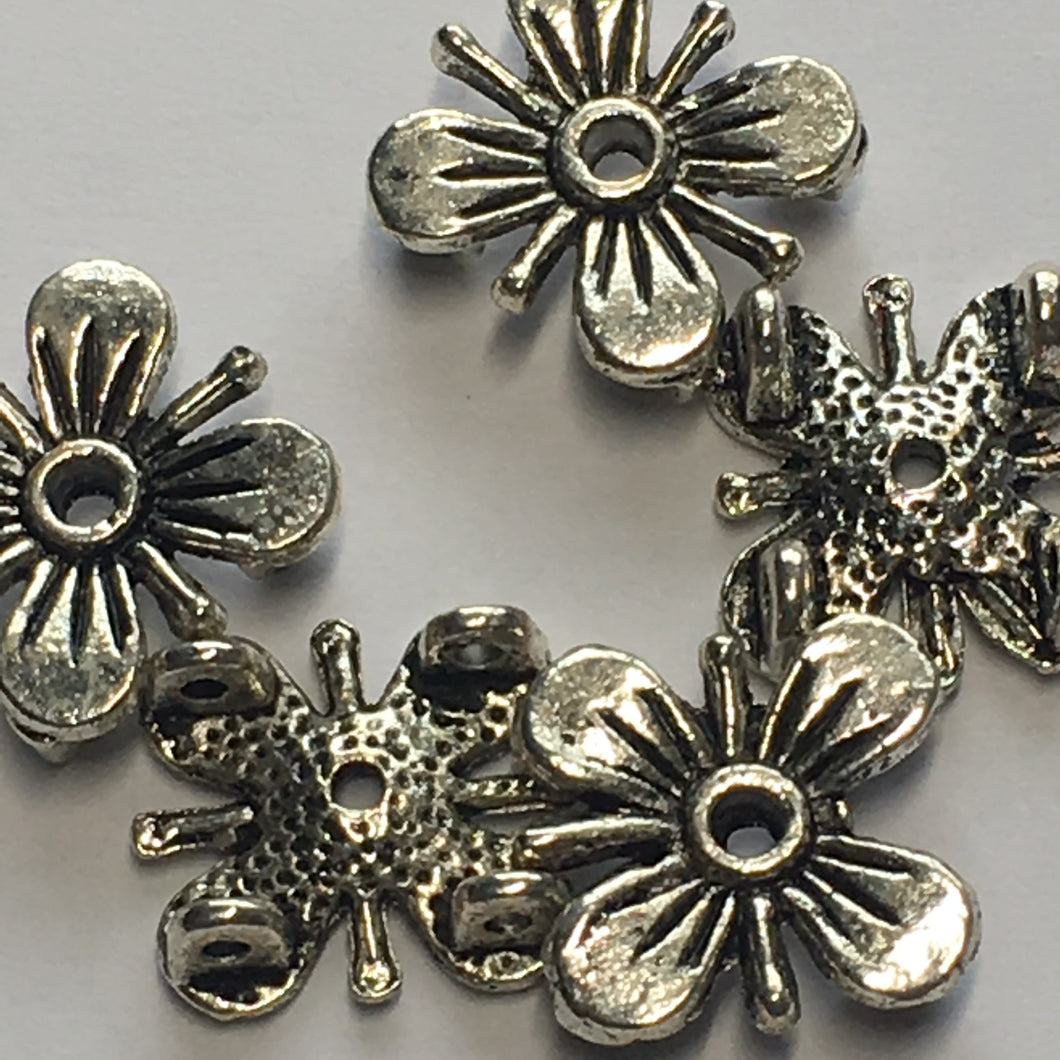 Antique Silver Square Flower Slider Beads 12 x 12 mm 2 Hole 5 mm Height - 5 Beads