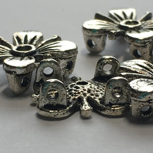 Antique Silver Square Flower 2-Hole Slider Beads, 12 x 12 x 5 mm - 5 Beads