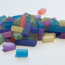 Load image into Gallery viewer, Multiple Colors Glass Flat Rectangle Beads, 3-8 x 4 x 3 mm, 10 gm