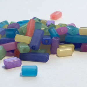 Multiple Colors Glass Flat Rectangle Beads, 3-8 x 4 x 3 mm, 10 gm