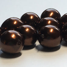 Load image into Gallery viewer, Dark Bronze Pearl Glass Egg Beads, 12 x 10 mm - 13 Beads