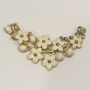 Ivory and White Cloisonne Flowered Necklace Pendant, Focal Piece, 84 x 48 mm