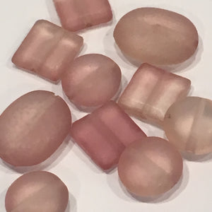 Translucent Pink Acrylic Flat Round, Square and Oval Beads - 10 Beads
