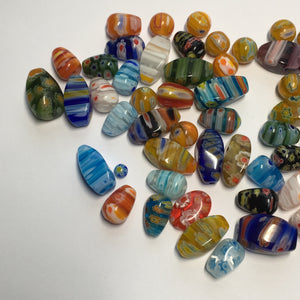 Multi-Color Millefiori Teardrop, Twist, and Round Glass Beads,  62 Beads