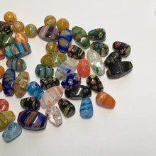 Load image into Gallery viewer, Multi-Color Millefiori Teardrop, Twist, and Round Glass Beads,  62 Beads