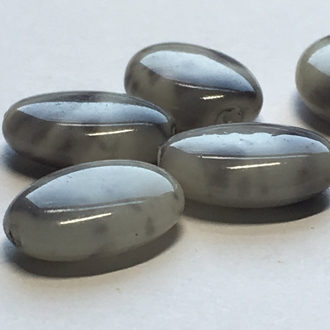 Gray and White Oval Flat Glass Beads, 12 x 9 x 4 mm, 5 Beads