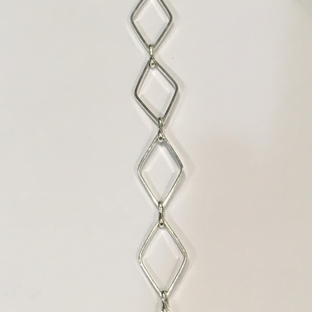Silver Plated Diamond Chain Links, 16.5 x 10 mm, 43 Links