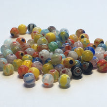 Load image into Gallery viewer, Multi-Color Millefiori Round Glass Beads 4 mm,  30 or 32 Beads