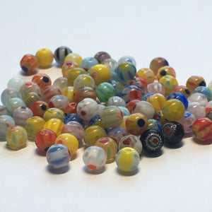 Multi-Color Millefiori Round Glass Beads 4 mm,  30 or 32 Beads