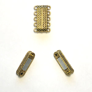 Gold Finish 5-Strand Rectangular Magnetic Clasp, 24.5 x 9 mm