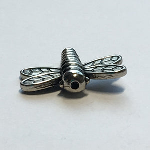 Antique Silver Dragonfly Bead, 19 x 17 x 4 mm