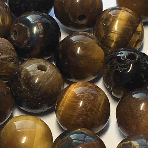 Tiger's Eye Semi-Precious Stone Round Beads 8 mm, 30 Beads, IRREGULARS