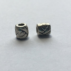 Antique Silver Bali Barrel Beads, 5 mm - 2 Beads