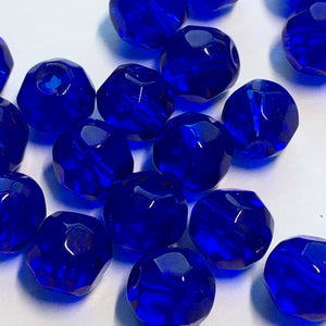 Transparent Cobalt Blue Faceted Round Glass Beads, 6 mm - 22 Beads