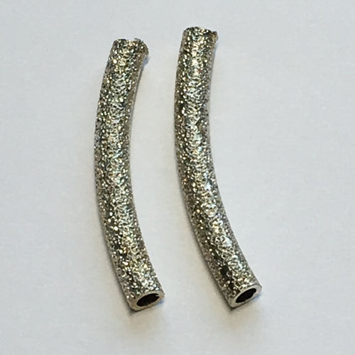 Silver Stardust Curved Metal Tube Bead 3 x 25 mm - 2 Beads