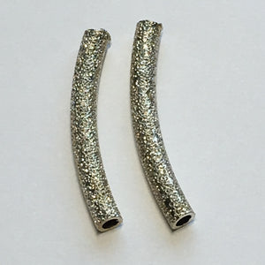 Silver Stardust Curved Tube Bead, 3 x 25 mm - 2 Beads