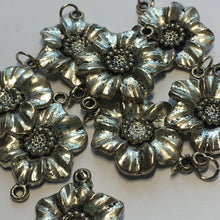Load image into Gallery viewer, Antique Silver 3D Metal Flower Beads, 28 x 20 mm, 10 Beads