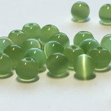 Load image into Gallery viewer, Green Cat's Eye Glass Round Beads, 5 mm, 20 Beads