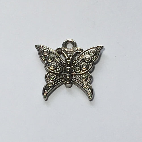 Antique Silver Butterfly Charm, 22 x 22 mm