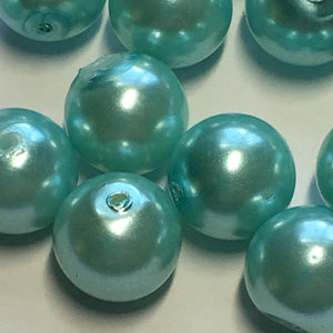 Light Blue Pearl Glass Round Beads, 10 mm, 15 Beads