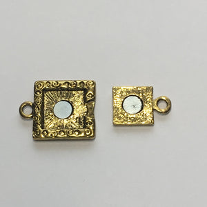 Antique Gold Swirl Square Magnetic Clasp, 22 x 16 mm