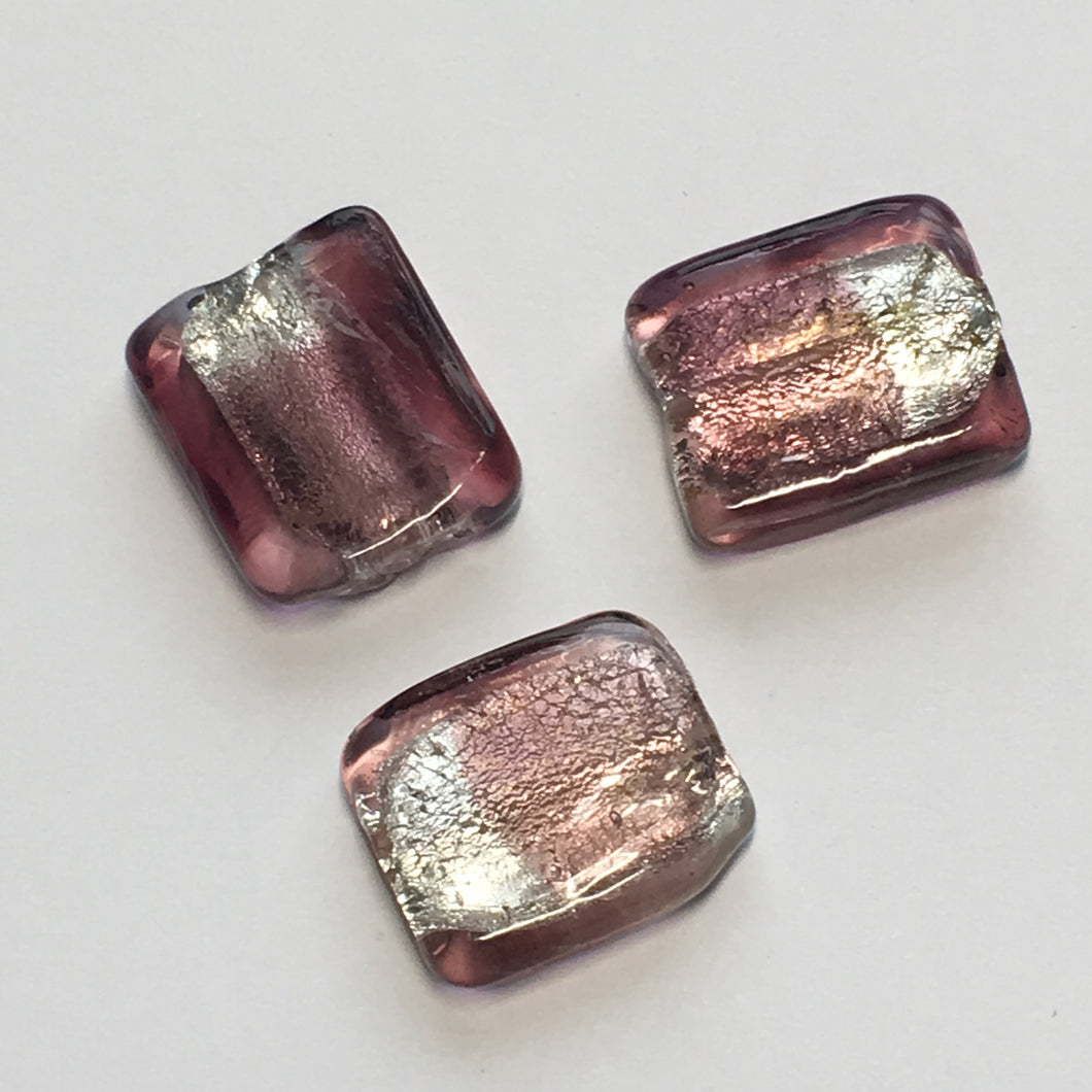 Silver and Purple Flat Square Dichroic Lampwork Beads, 18 x 15 mm - 3 Beads