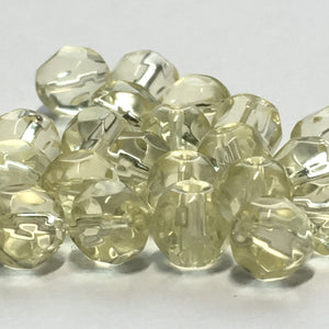 Czech Fire Polished Yellow Faceted Round Beads, 6 mm, 25 Beads