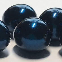 Load image into Gallery viewer, Dark Blue Pearl Glass Egg Beads, 7 x 14 mm - 6 Beads