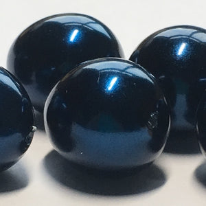 Dark Blue Pearl Glass Egg Beads, 7 x 14 mm - 6 Beads