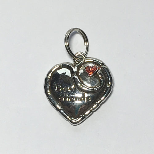 Silver Best Friends Heart Charm with Red Rhinestone Heart, 20 x 20 x 4.5 mm