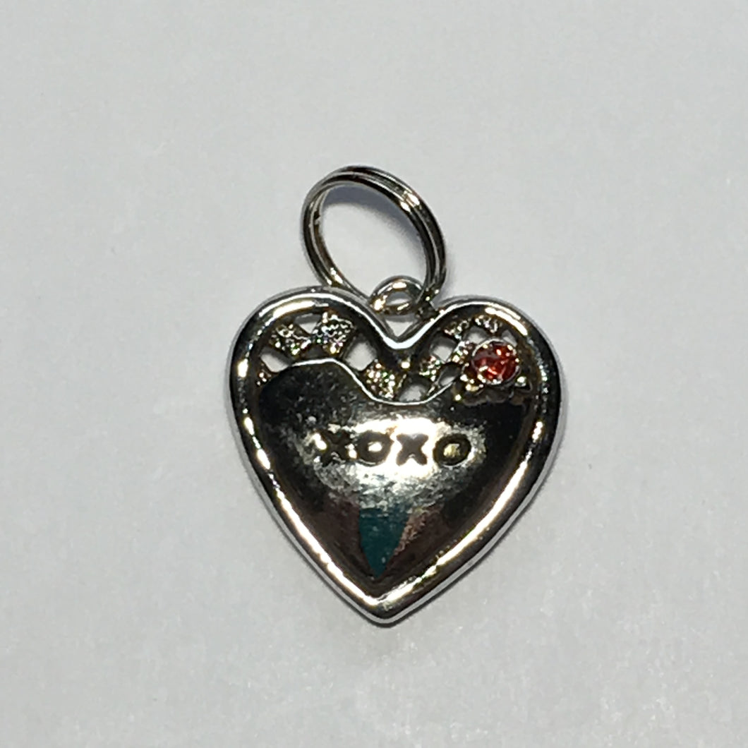 Silver XOXO Heart Charm with Red Rhinestone Flower 20 x 20 mm