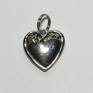 Silver XOXO Heart Charm with Red Rhinestone Flower, 20 x 20 x 4.5 mm