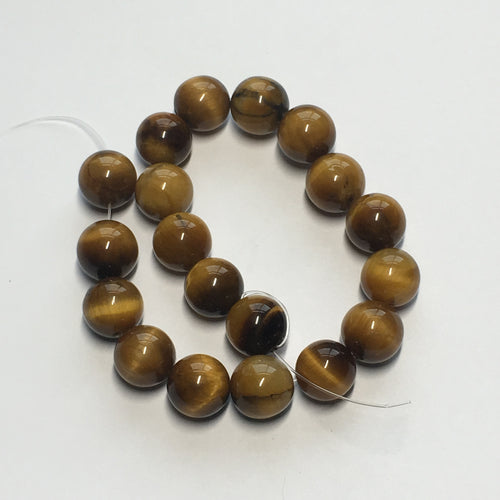 Tiger's Eye Semi-Precious Smooth Stone Round Beads, 10 mm, 19 Beads