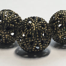 Load image into Gallery viewer, Antique Brass Filigree Round Beads, 14 mm - 3 Beads