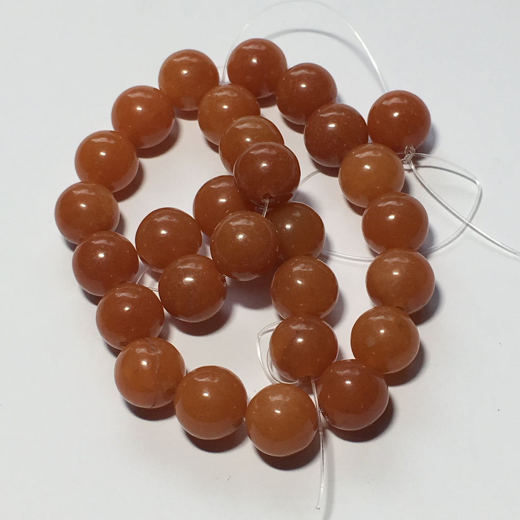 Orange Aventurine Semi-Precious Stone Round Beads, 10 mm, 29 Beads