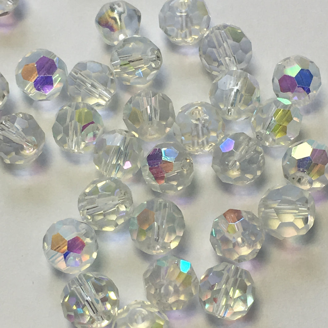 Clear AB Glass Faceted Round Beads, 8 mm - 23 Beads
