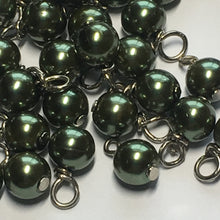Load image into Gallery viewer, Dark Green Pearl Round Glass Beads, 6 mm, With Wire-Wrapped Headpins, 6 mm, 42 Beads