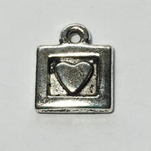 Load image into Gallery viewer, Antique Silver Square Heart Charm, 11 x 9 mm