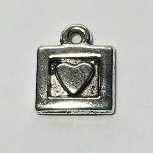Antique Silver Square Heart Charm, 11 x 9 mm