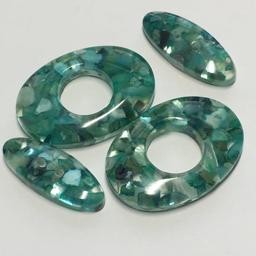 Green Flat Oval Acrylic Beads, 20 x 8 x 4.25 and 25 x 18 x 4.25 mm - 2 of Each Bead