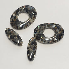 Load image into Gallery viewer, Black Acrylic Flat Oval Beads, 20 x 8 x 4.25 and 25 x 18 x 42.5 mm - 2 of Each Bead