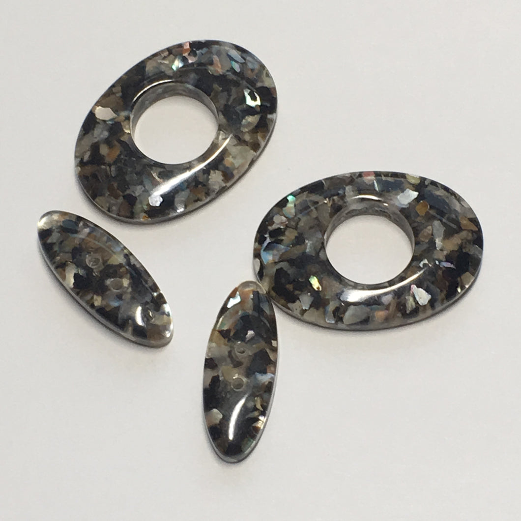 Black Acrylic Flat Oval Beads, 20 x 8 x 4.25 and 25 x 18 x 42.5 mm - 2 of Each Bead