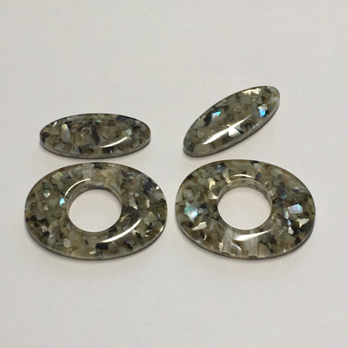 Gray Flat Oval Acrylic Beads, 20 x 8 x 4.25 and 25 x 18 x 4.25 mm - 2 of Each Bead
